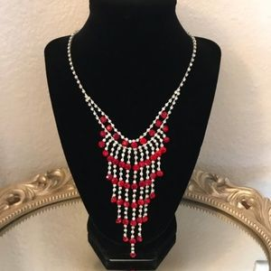 Charming Charlie RSVP Red Rhinestone Necklace